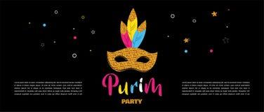 Carnival banner with glitter mask . Festival concept design. Vector illustration Stock Image