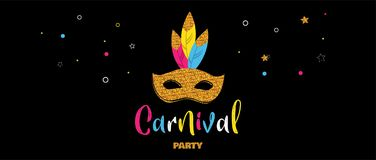 Carnival banner with glitter mask . Festival concept design. Vector illustration Royalty Free Stock Photos