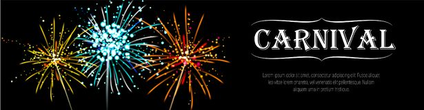 Carnival banner with realistic yellow, blue, orange firecracker. stock photography