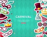 Carnival Banner With Stickers on Background. Royalty Free Stock Photos