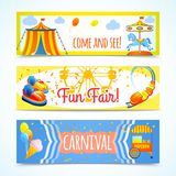 Carnival banners horizontal. Amusement entertainment carnival theme park fun fair horizontal banners isolated vector illustration Royalty Free Stock Photo