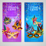 Carnival Banners Set. Carnival realistic vertical banners set with mardi gras  vector illustration Royalty Free Stock Images