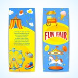 Carnival banners vertical. Amusement entertainment carnival fun fair vertical banners advertising leaflets isolated vector illustration Royalty Free Stock Photography