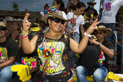 Carnival of Barranquilla, in Colombia. Barranquilla, Colombia - March 1, 2014: People attending the carnival parades at the Carnival of Barranquilla, in Stock Image