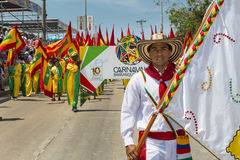 Carnival of Barranquilla, in Colombia. Barranquilla, Colombia - March 1, 2014: People at the carnival parades in the Carnival of Barranquilla, in Colombia Royalty Free Stock Photography