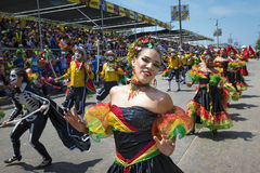 Carnival of Barranquilla, in Colombia. Barranquilla, Colombia - March 1, 2014: People at the carnival parades in the Carnival of Barranquilla, in Colombia Stock Images