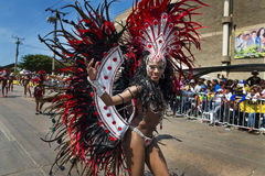 Carnival of Barranquilla, in Colombia. Barranquilla, Colombia - March 1, 2014: People at the carnival parades in the Carnival of Barranquilla, in Colombia Stock Photos