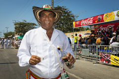 Carnival of Barranquilla, in Colombia. Barranquilla, Colombia - March 1, 2014: People at the carnival parades in the Carnival of Barranquilla, in Colombia stock photography