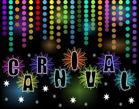 Carnival black billboard with rainbow confetti and firework stars. With inscription carnival. Blurry lights on background. Decoration for carnival party Royalty Free Stock Images