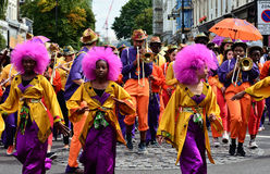 Carnival brass band. London, Notting Hill Carnival - August 24, 2014 : its the Bank Holiday and time for the first day start of Notting Hill Carnival with a Stock Photos