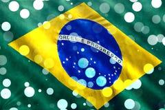 Carnival in Brazil. Brazilian flag closeup with confetti falling for Carnival royalty free illustration
