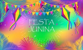 Carnival Festa Junina Summer Festival fireworks. Carnival Brazilian Festa Junina Summer 2018 Festival abstract colorful festive banner with traditional Royalty Free Stock Image
