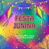 Carnival Festa Junina Summer Festival fireworks. Carnival Brazilian Festa Junina Summer 2018 Festival abstract colorful festive banner with traditional Stock Photography