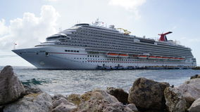 Carnival Breeze docked in Willemstad, Curacao Royalty Free Stock Photography