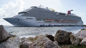 Carnival Breeze docked in Willemstad, Curacao Royalty Free Stock Image