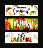 Carnival. Bright festive banners trending abstract style. Royalty Free Stock Image
