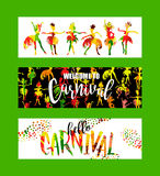 Carnival. Bright festive banners trending abstract style. Royalty Free Stock Photos