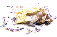 Carnival cakes. With confetti and mask Royalty Free Stock Image
