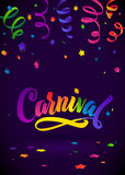 Carnival Calligraphy Inscription Rainbow Colors Poster. Celebration festive Illustration on Mysterious Violet Confetti. And Serpentine Background Stock Images