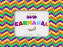 Carnival card fanfare with a square frame, masks on a colorful modern geometric background.Place for your text. Carnival card fanfare with a square frame, masks Stock Photos
