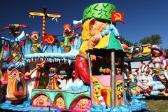 Carnival cars. Colorful carnival cars as seen near the city of Hasselt, Belgium Royalty Free Stock Images