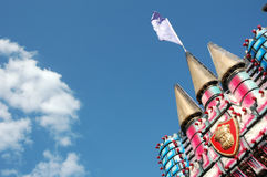 Carnival Castle. With flag and blue sky background stock photo
