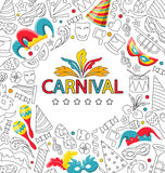 Carnival Celebration Card with Hand Drawing Icon Style. Illustration Carnival Celebration Card with Hand Drawing Icon Style - Vector Royalty Free Stock Image