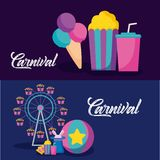 Carnival celebration infographic icons vector illustration
