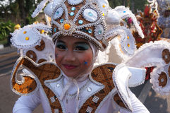 Carnival. Children follow the carnival culture with recycled clothing in Solo, Central Java, Indonesia stock photography