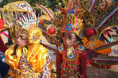 Carnival. Children follows the carnival in a carnival culture in the city of Solo, Central Java, Indonesia stock image