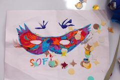 Carnival and children's drawings Royalty Free Stock Photo