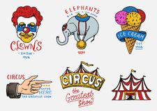 Carnival Circus badge. Banner or poster with animals. clown and elephant, ice cream and focus, magic in the tent. Festival with actors. engraved emblem hand Stock Images