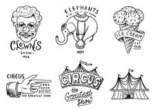 Carnival Circus badge. Banner or poster with animals. clown and elephant, ice cream and focus, magic in the tent. Festival with actors. engraved emblem hand Stock Photo