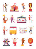 Carnival and circus cartoon fun characters. Fair carousel and amusement park elements vector collection Stock Image