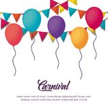 Carnival circus design. Circus carnival infographic with decorative pennants and balloons icon over white background, colorful design vector illustration stock illustration