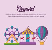 Carnival circus design. Circus carnival infographic with fortune wheel and carousel icon over pink background, colorful design vector illustration vector illustration