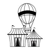 Carnival circus festival cartoons in black and white. Carnival circus festival tents and hot air balloon cartoons vector illustration graphic design stock illustration