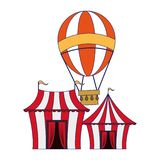 Carnival circus festival cartoons blue lines. Carnival circus festival tents and hot air balloon cartoons vector illustration graphic design royalty free illustration
