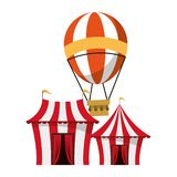 Carnival circus festival cartoons vector illustration. Carnival circus festival tents and hot air balloon cartoons vector illustration graphic design stock illustration
