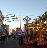 Carnival in City Centre Decorated for Christmas Royalty Free Stock Image