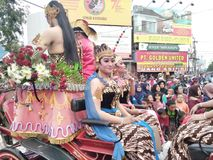 Carnival clothing javanese dancers on the carnival commemorate indonesia& x27;s independence day 2017 on the road slamet riyadi. Street Royalty Free Stock Image