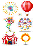 A carnival with clown. Illustration of a carnival with clown on a white background Stock Photos