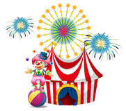 A carnival with a clown juggling. Illustration of a carnival with a clown juggling on a white background Royalty Free Stock Photos