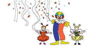Carnival Clown and Toddler in front of Confetti and Garlands Royalty Free Stock Photography