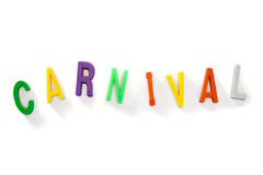 Carnival color text on white backgroung. Color letters on white backgroung for Carnival Royalty Free Stock Photo