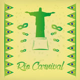 Carnival. A colored background with a silhouette of christ, mask and flags of brazil Stock Photos