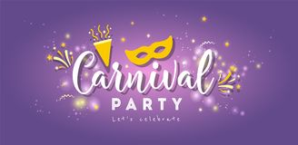 Carnival colorful poster.Vector illustration. Carnival Concept Banner with on shiny background Stock Photos