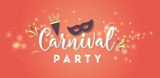 Carnival colorful poster. Vector illustration. Carnival Concept Banner with mask, stars, firework Icons on shiny red background Stock Image