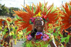 Crucian Christmas Carnival Parade USVI. Costumed woman with feathered headdress at the Crucian Christmas Festival Carnival in Fredriksted St Croix United States Royalty Free Stock Photography