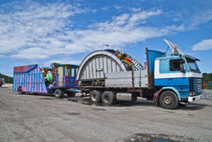 Carnival comes to town. It has come a number of trucks with carnival equipment to Halden city, the equipment shall be installed in the square and there will be Stock Photo